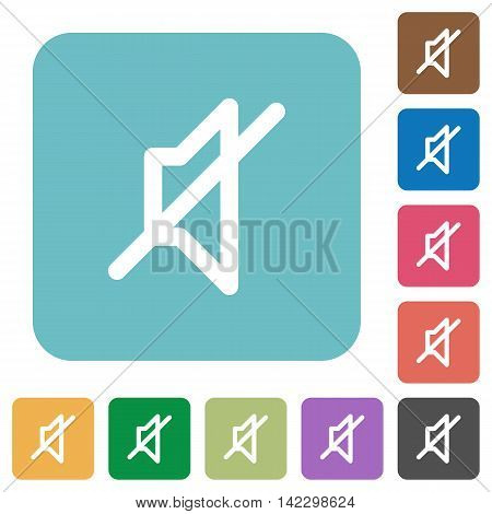 Flat mute icons on rounded square color backgrounds.