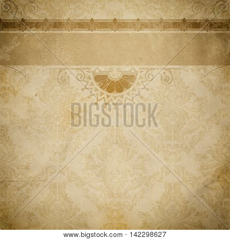 Aged paper background with decorative old-fashioned ornament and border. Vintage paper texture for the design.