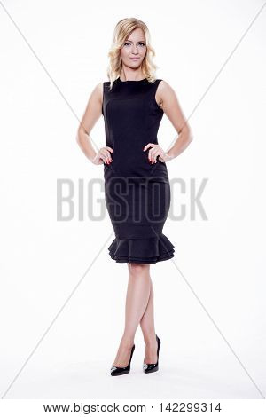 beautiful young adult attractive sexy and sensuality pretty blonde woman elegance business style dress isolated on white background