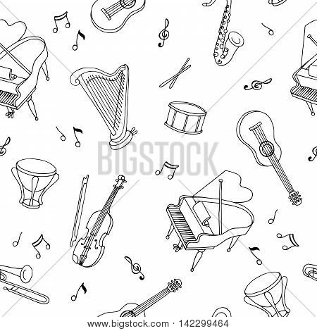 Music instrument graphic art black white seamless pattern sketch illustration vector