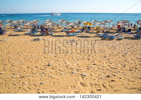 CORFU, GREECE - JULY 28, 2016:   Sandy beach of Corfu, Greece.