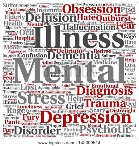 Vector concept conceptual mental illness disorder management or therapy abstract square word cloud isolated on background