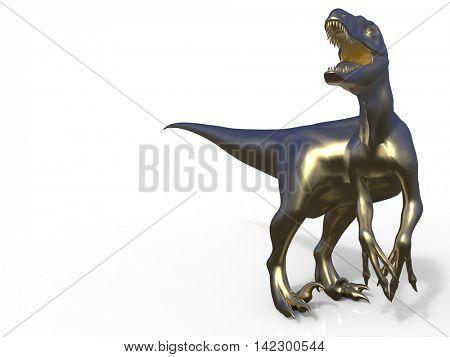 Velociraptor front view 3d rendering