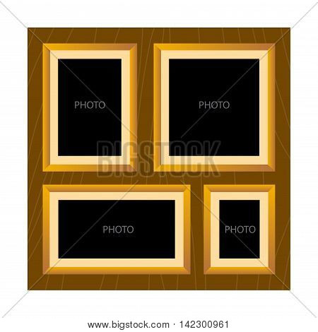 Vector stock of wooden textured all in one photo frame template