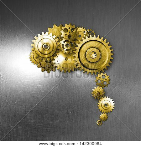 gold metal gear on metal background look like a human brain. material design. 3d illustration.