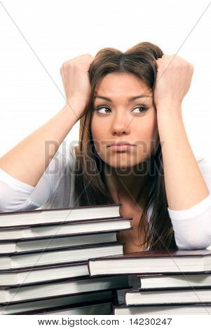 Woman Student Tired Of Reading Books