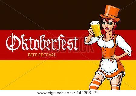 Oktoberfest Bavarian Girl. Oktoberfest Vector Illustration. Background Of The Flag Of Germany.