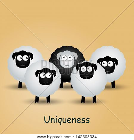 Black unique sheep. Leader, leadership, individuality, ambition uniqueness success Vector illustration