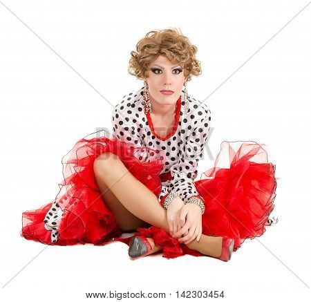 Portrait Drag Queen In Woman Dress Sitting On Floor
