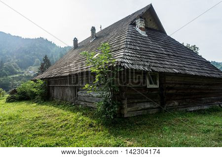 Ancient Hutsul farmstead grazhda. It includes accommodations outbuildings and fenced yard.