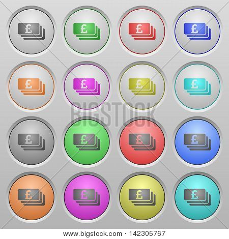 Set of Pound banknotes plastic sunk spherical buttons.