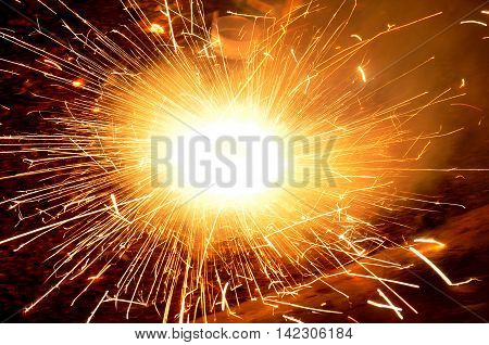 firework rotating cracker during the diwali festival celebrations in India