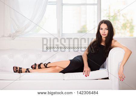 Alluring Brunette In Black Dress