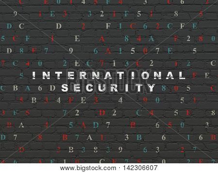 Security concept: Painted white text International Security on Black Brick wall background with Hexadecimal Code