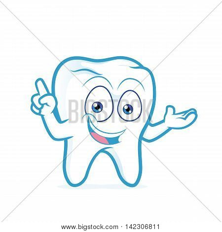 Clipart picture of a tooth cartoon character presenting something