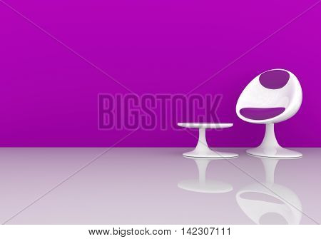 Stylish chair on a purple wall with space for text 3d rendering