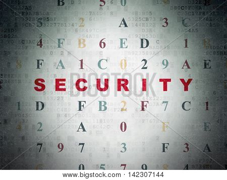 Privacy concept: Painted red text Security on Digital Data Paper background with Hexadecimal Code