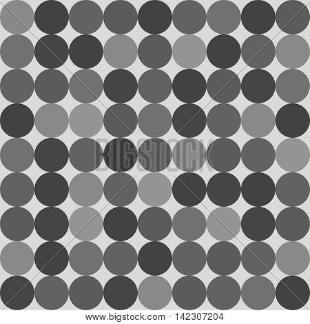 Tile vector pattern with big black, white and grey polka dots on grey background