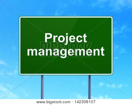 Finance concept: Project Management on green road highway sign, clear blue sky background, 3D rendering