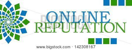 Online reputation text written over green blue background.
