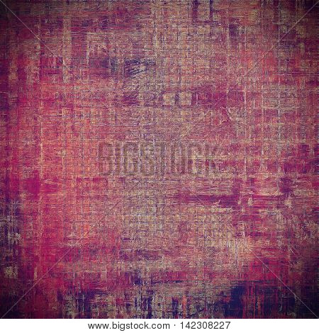 Retro background with vintage style design elements, scratched grunge texture, and different color patterns: gray; red (orange); purple (violet); pink