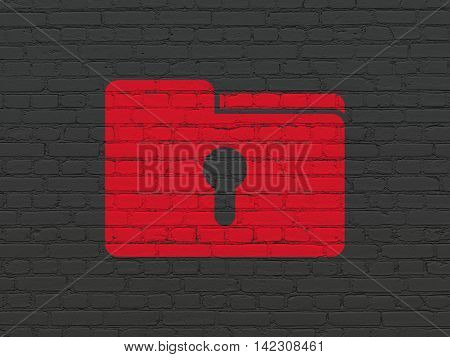 Business concept: Painted red Folder With Keyhole icon on Black Brick wall background