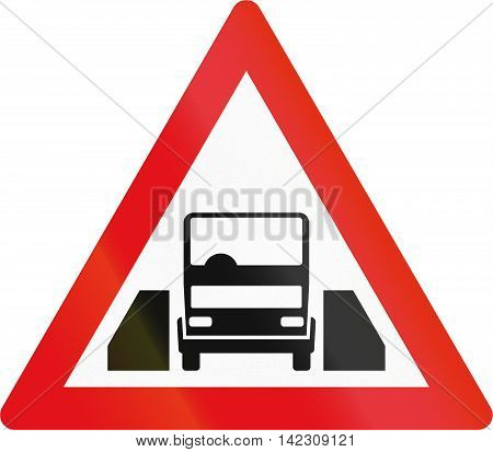 Road Sign Used In The African Country Of Botswana - Single Vehicle Width Passage Ahead