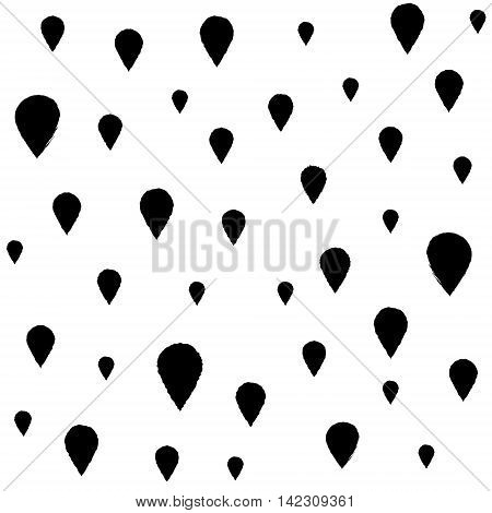 Black hand-drawn ink drops seamless pattern design. Vector repeating autumn rain print for wrapping paper textile album fillers etc.