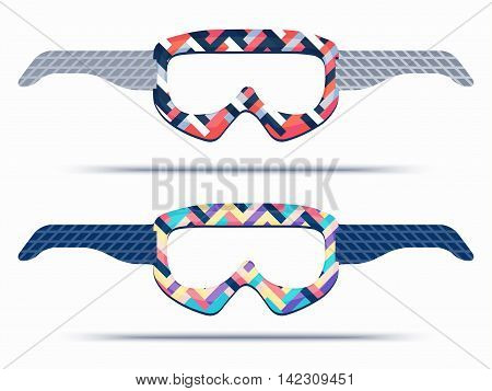 Mountain ski and snowboard goggles blueprint template for die cutting.