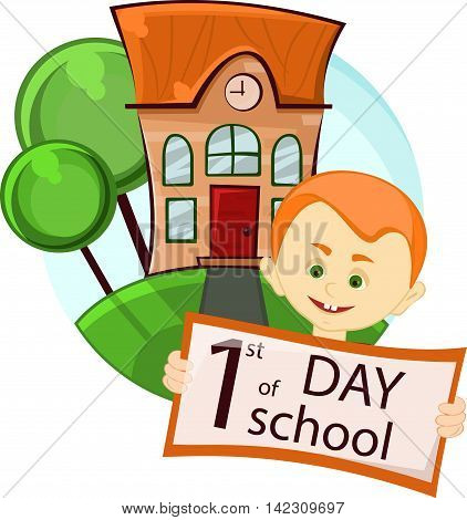 smiling boy near the school building on the first day of the school year, vector illustration