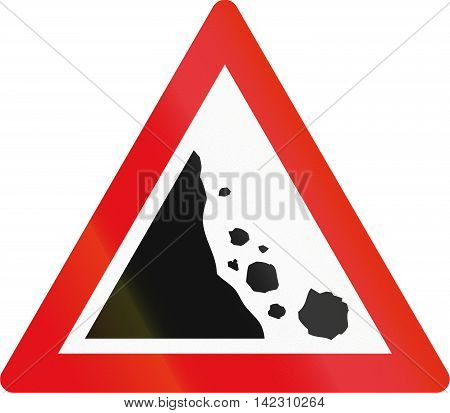 Road Sign Used In The African Country Of Botswana - Falling Rocks