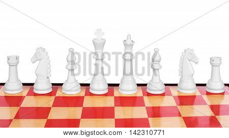 Chess photographed on a chessboard isolated on a white background