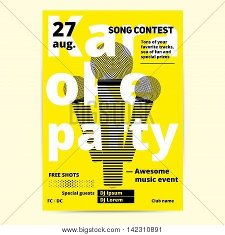 Karaoke party flyer or poster template design. Vector music event background. Concert banner layout