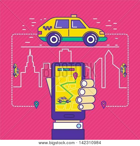 Public taxi call mobile application in trendy cartoon line style. Vector illustration of cab service for web apps background design.