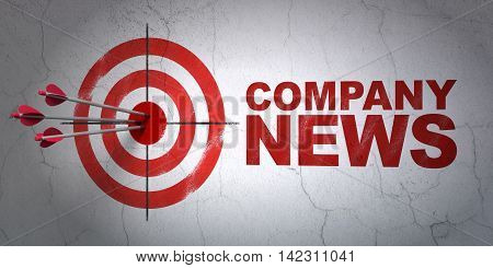 Success news concept: arrows hitting the center of target, Red Company News on wall background, 3D rendering