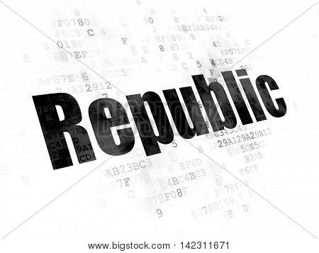 Political concept: Pixelated black text Republic on Digital background