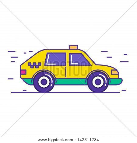 Yellow public taxi car icon design in trendy cartoon line style. Vector illustration of city cab service isolated on white background.