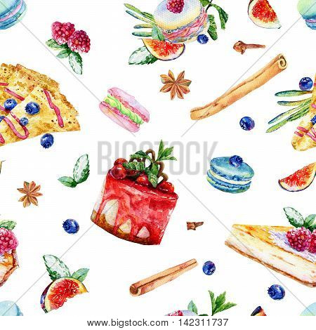 Seamless pattern with watercolor pastries and sweets. Colorful illustration of pancake macaroon cake cinnamon cloves anise blueberry figs macaroons cheesecake.