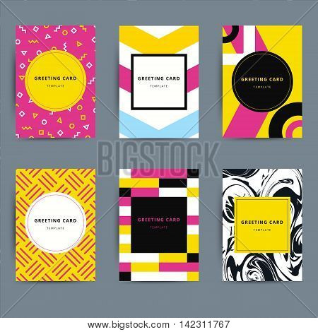 Set of trendy hipster geometric greeting cards design. Bright modern vector background patterns. Best for abstract posters album fillers flyers covers etc.
