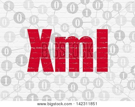 Software concept: Painted red text Xml on White Brick wall background with Scheme Of Binary Code