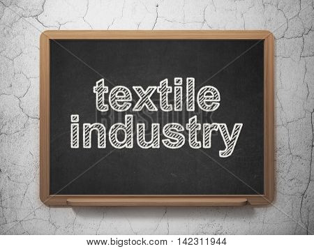 Manufacuring concept: text Textile Industry on Black chalkboard on grunge wall background, 3D rendering