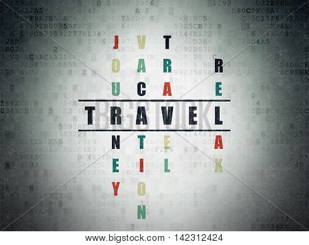 Tourism concept: Painted black word Travel in solving Crossword Puzzle on Digital Data Paper background
