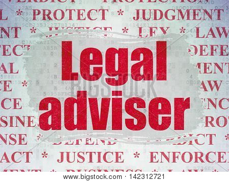 Law concept: Painted red text Legal Adviser on Digital Data Paper background with   Tag Cloud