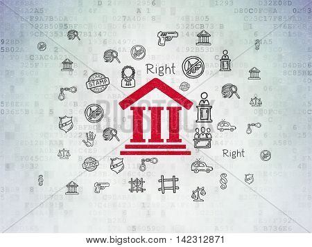 Law concept: Painted red Courthouse icon on Digital Data Paper background with  Hand Drawn Law Icons