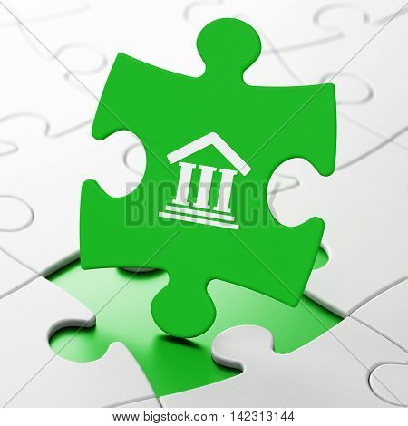 Law concept: Courthouse on Green puzzle pieces background, 3D rendering
