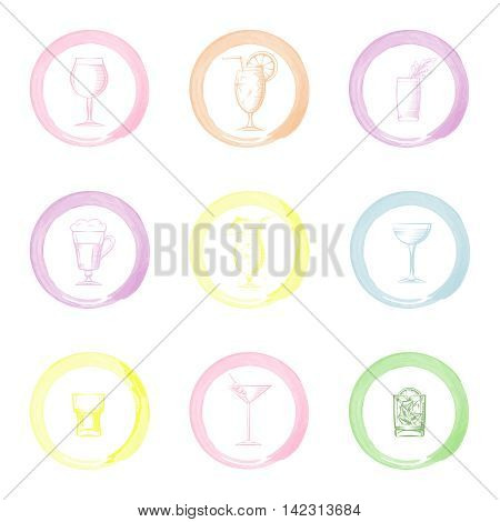 Hand drawn drinks icons vector. Sketched drinks in watercolor circles brush imitation