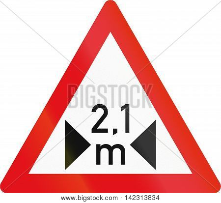 Road Sign Used In The African Country Of Botswana - Width Restriction Ahead