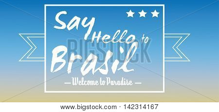 Say hello to Brasil card with stars over blue background in outlines. Digital vector image