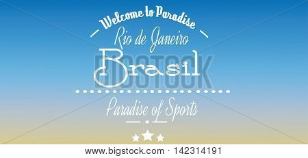 Welcome to Brasil paradise card with stars over blue background in outlines. Digital vector image