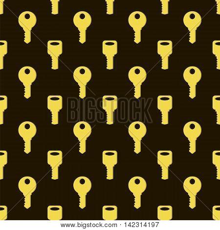 Yellow Keys Isolated on Dark Background. Seamless Gold Key Pattern